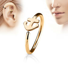 1pc Bendable Hoop Nose / Cartilage Ring w/ Anchor Annealed Surgical Steel
