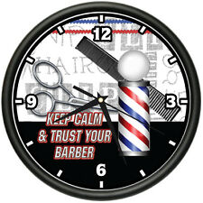 KEEP CALM AND TRUST YOUR BARBER Wall Clock salon hair stylist shop gift