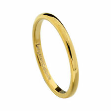 2mm Gold Plated Tungsten Women Wedding Band Ring High Polished Classic Dome