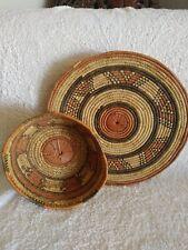 "Navajo Basket Woven 13"" Platter And 9"" X 3 1/2"" Bowl"