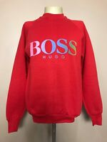 Vtg 90's HUGO BOSS AMERICA USA RED FRUIT OF THE LOOM CREWNECK SWEATSHIRT * LARGE