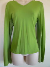 New womens Large 12 14 green v-neck workout stretch mesh long sleeve shirt