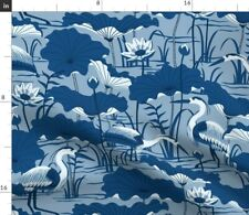 New listing Great Classic Blue Crane Heron Water Lotus Pond Spoonflower Fabric by the Yard