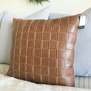 "Canaan Company Large Basket Weave Vegan Faux Brown Leather 22"" X 22"" Pillow NEW"