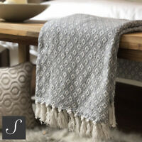 Luxury 100% Cotton Light Grey Woven Abstract Check Sofa Bed Throw Blanket Fringe