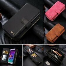 Authentic Leather Wallet Case Cover Multi-function Card Slot for Samsung iPhone