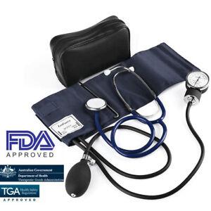 Aneroid Sphygmomanometer Stethoscope Kit Arm Manual Blood Pressure BP Cuff Gauge