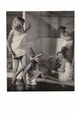 VINTAGE PRETTY SEXY TOWEL WRAPPED GIRLS SPLASHING SHOWER ROOM LAUGHING AD PRINT