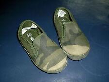 M&S Round-Toe Rip-Tape Strap Camouflage Trainers UK 4 EU 20.5 Khaki Mix BNWT