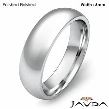 Solid 14k Gold White Plain Dome Wedding Band Men's Comfort Ring 6mm 8.5gm 8-8.75