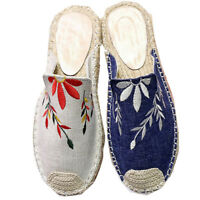 Women Canvas Sandals Knit Espadrilles Embroidered NonSlip Casual Fisherman shoes