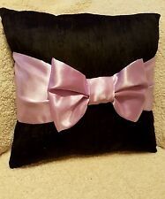 handmade decorative black crushed velvet  cushion pillow with lilac bow