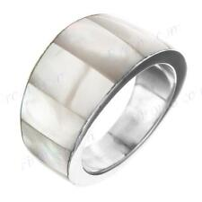 WHITE MOTHER OF PEARL SHELL 925 STERLING SILVER BAND US 6 ring