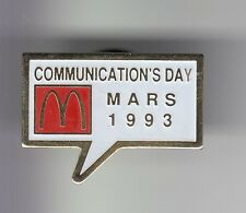 RARE PINS PIN'S .. MC DONALD'S RESTAURANT FRANCE COMMUNICATION DAY MARS 1993 ~17