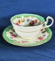 Aynsley Red,Blue Floral,Green Scalloped Rim,D Handle Footed Teacup Set,VGC