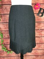 ETCetera Skirt size 12 Charcoal Gray Wool Pleated Straight Above Knee Preppy