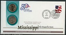 UNITED STATES 50 STATE QUARTERS MISSISSIPPI  P & D OFFICIAL COMMEMORATIVE COVER