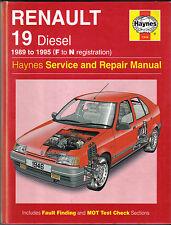RENAULT 19 DIESEL 1989-1995 (F a N REG) Haynes assistenza / riparazione manuale 1996