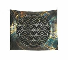 Flower of life wall tapestry spiritual tapestry gold sacred geometry tapestry