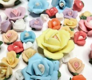 Porcelain Flowers Lot Mix Color Size Flatback DIY 8-26 mm 30 pcs Capodimonte