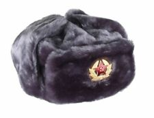 New Authentic Russian Military Gray Ushanka Hat Soviet Red Star Hammer & Sickle