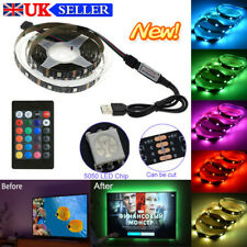 1-5M LED Strip Lights 5050 RGB Dimmable USB TV Back Lighting Remote Control UK