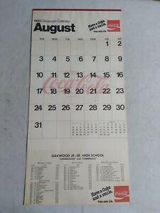 "1980 Coca-Cola Classroom Calendar Enjoy Coke Oakwood Ohio High School 28.5""x14"""