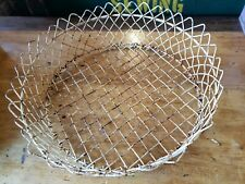 "Omg~ Vintage FRENCH FARMHOUSE Crusty White Wire Basket Decor' HUGE 20"" Round"