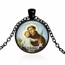 St Anthony Religious Glass Dome Necklace Chain Pendant Wholesale Black Jewelry