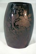 "Paden City 1935 Peacock And Wild Rose Black AKA Nora Bird 8"" #182 Eliptical Vase"