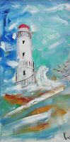 Oil original painting on canvas size 10x20 inches Lighthouse