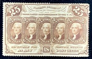 1862 US Postage Stamps Note #99 25c Heads of JEFFERSON Perf. 12