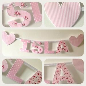 Pink Girls Personalised Fabric Bunting Name Banner-Price is per letter or Heart