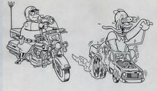 Simpsons Production Art Homer Weirdos Big Daddy Roth Hot Rod Chief Wiggum Inked