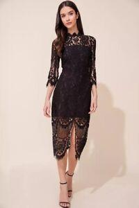 New Yumi Kim Leading Lady Black Lace Midi Dress Xs 0