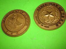 "Good 2 3/4"" Heavy Very Good 2 Vintage Brass Texas Themed Medallions Very"