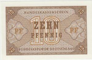 1967 Deutschland / 10 Pfennig Bundeskassenschein als Ersatzwährung gedacht