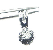 1.04+ ct Natural opaque black Raw Rough Diamonds 925 sterling Silver pendant N R