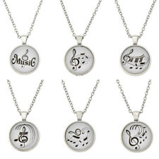 Musical Note Cabochon Glass Pendant Necklace Silver Chain Unisex Jewellery Gift