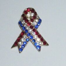 Crystal Gold Tone Patriotic Ribbon Shiny American Flag Usa Pin Brooch Rhinestone