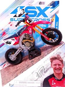 SX Supercross Authentic JUSTIN Hill #46 Red Honda Dirt Bike 1:10 NEW 1st Edition