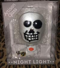 Artisan Glass Skull Skeleton Night Light Wall Plug Transpac Stain Glass Hallowee