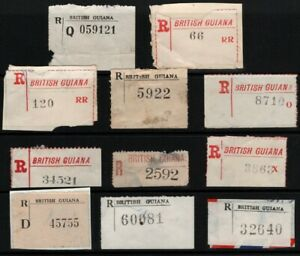 SELECTION/LOT OF 11 REGISTERED LABELS FOR BRITISH GUIANA
