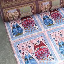 50x50cm Jacquard Weave Fabric 2 Indian Cats Heart DIY Cushion Pillow Bag G07  B