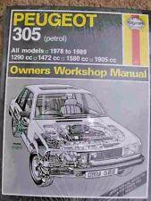 Peugeot 305 petrol,1290/1472cc workshop manual for sale | car and.