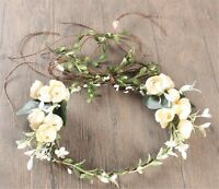 Women Cream White Flower Leaf Party Wedding Beach Crown hair headband Garland