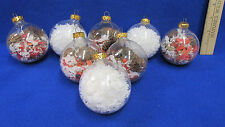 Winter Clear Round Plastic Ornaments Filled w/ Pine Cones White Confetti Lot 8
