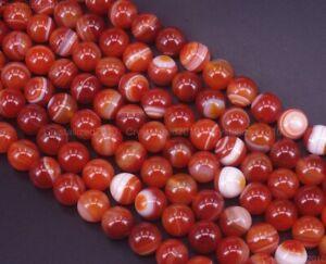 "Natural Orange Stripe Agate Gemstone Round Loose Beads 6mm 8mm 10mm 12mm 15"""