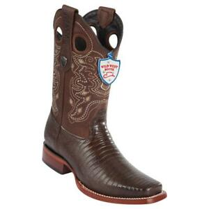 Men's Wild West Genuine Teju Lizard Western Boots Rodeo Square Toe Leather Sole