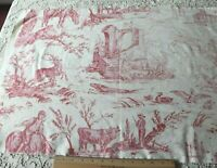 "Antique c1920 French Printed Red & White Scenic Faded Cotton Toile~L-23""X W-62"""